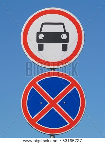 Road signs on the blue sky background