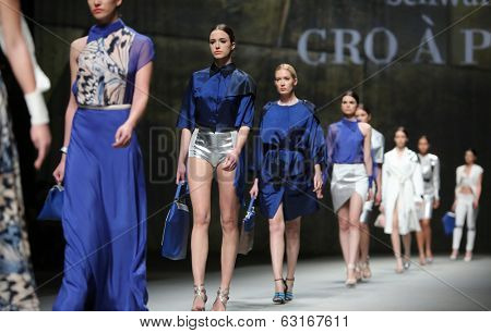 ZAGREB, CROATIA - APRIL 9: Fashion model wears clothes made by M. Jerant and M. Lovrencic on
