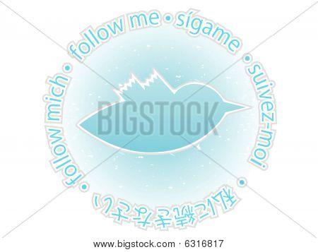 Multilingual follow me texture blue bird badge