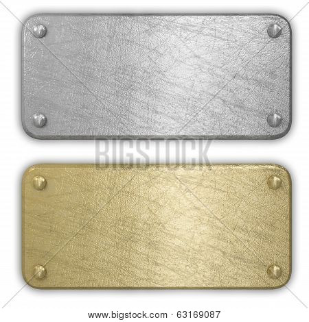 Silver and gold metal plates isolated