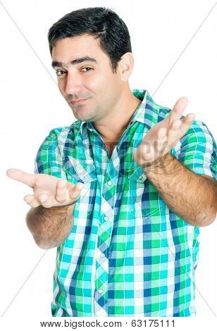 Man gesturing with his hands with a funny excited expression  isolated on white