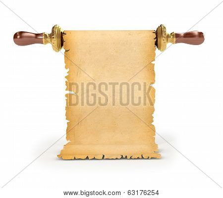 Ancient paper scroll isolated