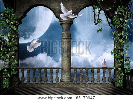View of a castle balcony and a beautiful sky with a big moon and doves flying poster