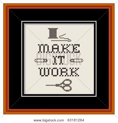 Embroidery, Make It Work Cross Stitch In Cherry Wood Frame