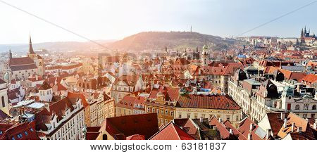 Prague panoramic view of Stare Mesto and Mala strana from Old Town Hall Tower Praha Czech Republic poster