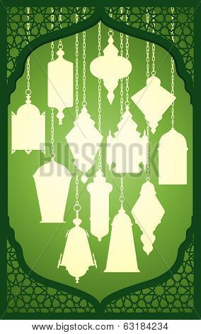 Vector set of ramadan lantern with islamic decorative frame