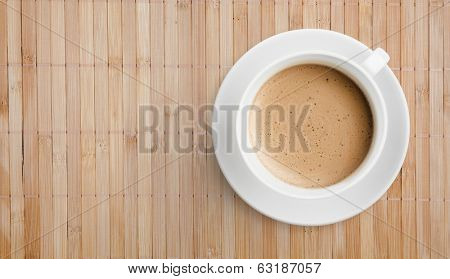 coffee cup on wooden table top view