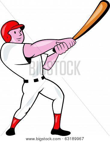 Baseball Player Swinging Bat Cartoon