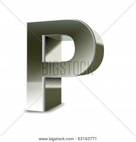 3D Silver Steel Letter P