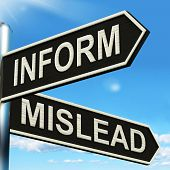 Inform Mislead Signpost Meaning Advise Or Misinform poster