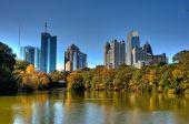 The Midtown Atlanta Skyline Over An Autumn Lake ** Note: Slight graininess, best at smaller sizes poster