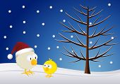 Christmas - Chick and rooster in the snow poster