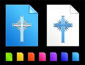 Cross Icons on Colorful Paper Document Collection poster