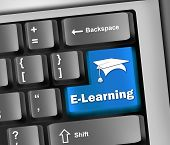 Image Graphic Keyboard Illustration with E-Learning wording poster