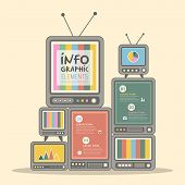 retro vector illustration abstract television tower infographics design poster