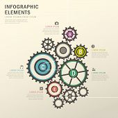 vector illustration abstract rotation gear infographics design poster