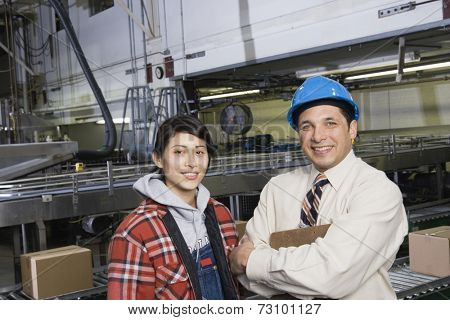 Man and woman together in warehouse
