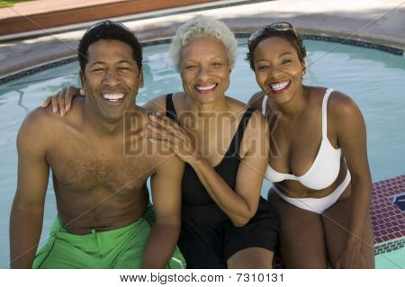 Senior woman with couple