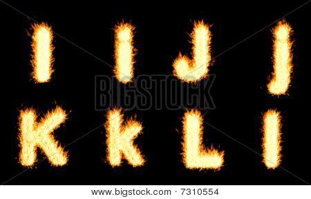 I, J, K, L charakter hoření