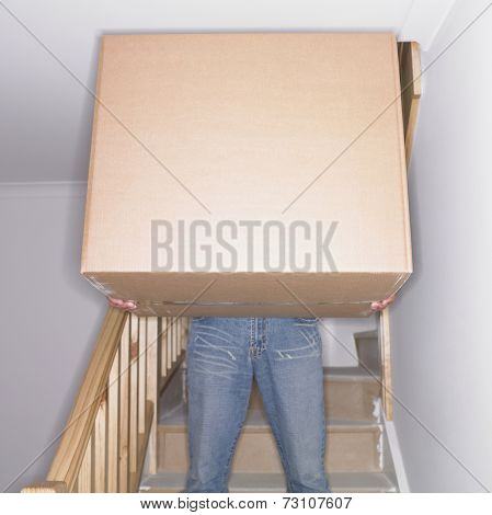 Man carrying box down stairs in new house