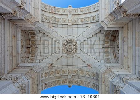 Detail seen from under the iconic Triumphal Arch  in Commerce Square, Praca do Comercio or Terreiro do Paco, Lisbon Baixa District (Downtown)