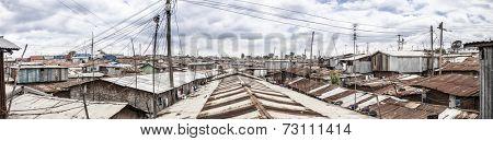 180 degree panorama of the slums of Kibera, Kenya