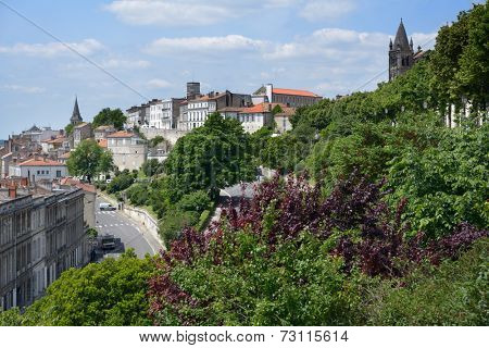 ANGOULEME, FRANCE - JUNE 26, 2013: Cityscape viewed from the Rempart Desaix. Located on a plateau overlooking a meander of the Charente River, the city is nicknamed the