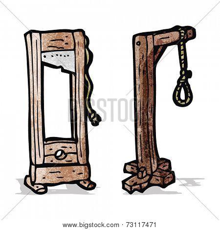 cartoon guillotine and gaols