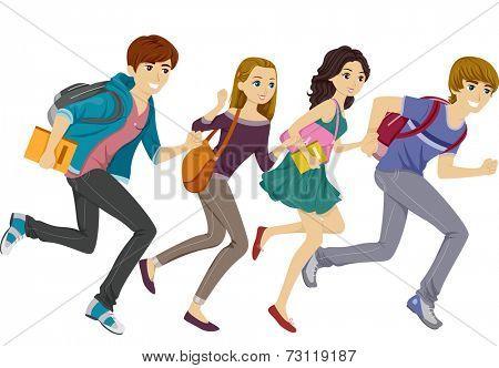 Illustration Featuring Teen Students Running