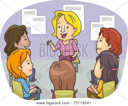 Illustration Featuring a Group of Women Attending a Counseling Session