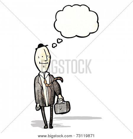 cartoon egghead businessman