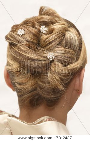 Woman's Wedding Hairstyle. Isolated