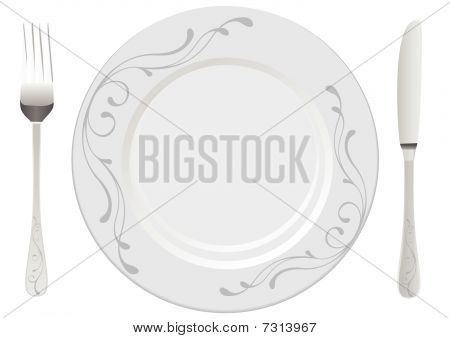 White plate with drawing