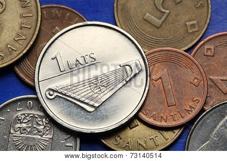 Coins of Latvia. A kokle, a Latvian plucked string musical instrument, depicted in old Latvian one lats coin.  poster
