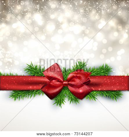 Winter background with crystallic snowflakes with red gift bow. Christmas fir tree decoration. Vector.