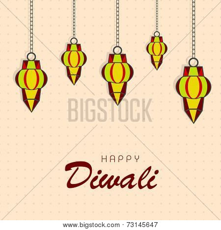 Illustration of colourful hanging with stylish text on seamless background.