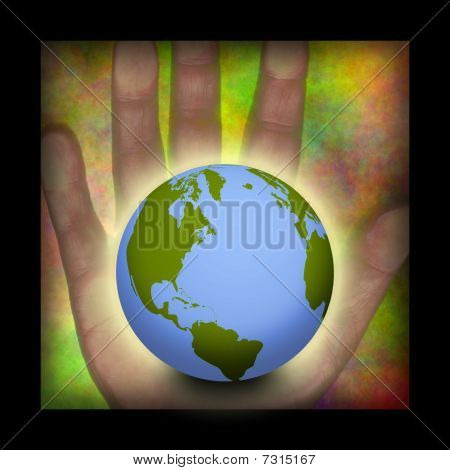 Hand And Earth Composition