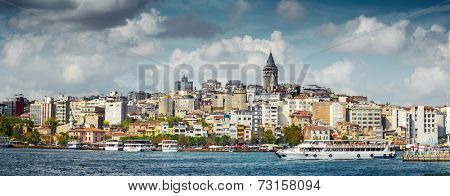Panorama of the city of Istanbul, view on Galata tower. Turkey