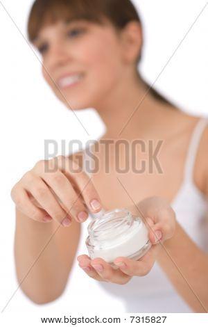 Body Care - Female Teenager Applying Moisturizer Cream