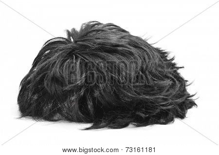 a black hair wig on a white background