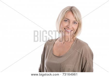 Beautiful middle aged blond attractive isolated woman smiling with white teeth.