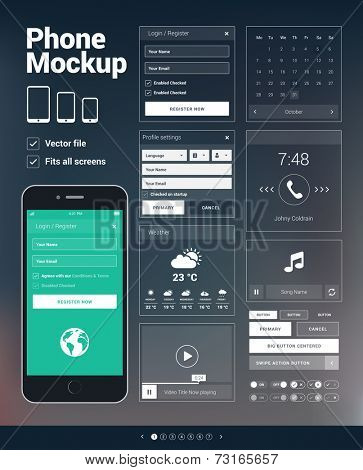 Modern mobile phone user interface elements kit for mobile apps development, websites design or other mockups. Vector graphic set on blurred background