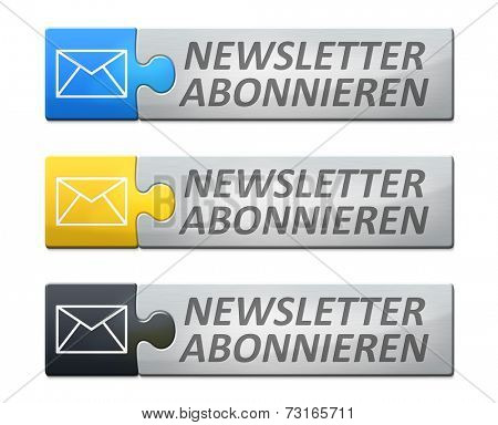 A stylish web banner with text subscribe newsletter in german language poster