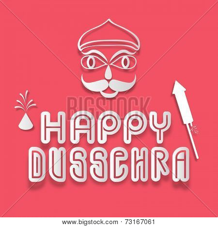 Stylish text of Dussehra with silwer under line, crackers and Ravan face on red shiny background.