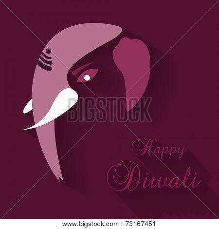 Hindu mythological Lord Ganesh face on purple background.