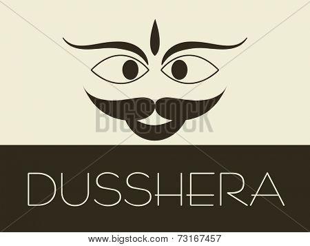 Illustration of kiddish face of Ravana with stylish text.