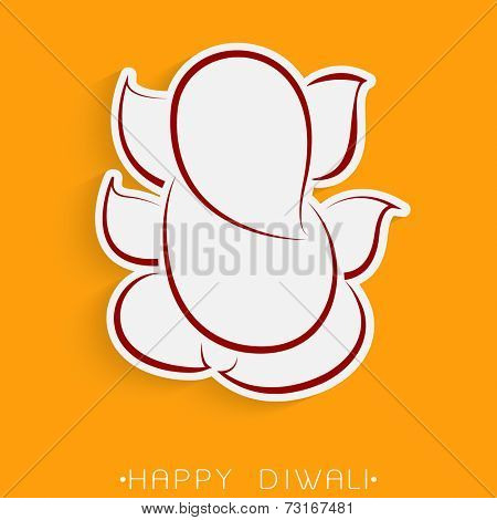 Illustration of Lord Ganesha light silwer and brown underlines for blessing on orange background.