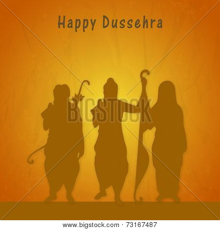 Silhouette of lord Ram, Laxman and Goddess Sita giving blessings with stylish text on grungy background.