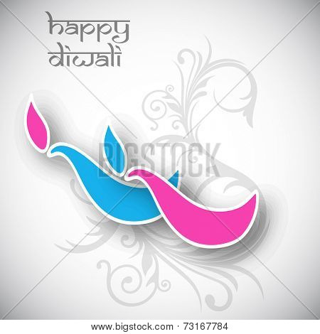 Illustration of colourful illuminated oil lit lamp in cartoon shape with floral decorated background.