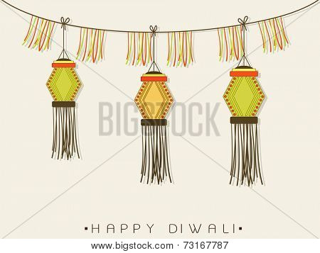 Illustration of beautiful decorated hanging on light gray background.